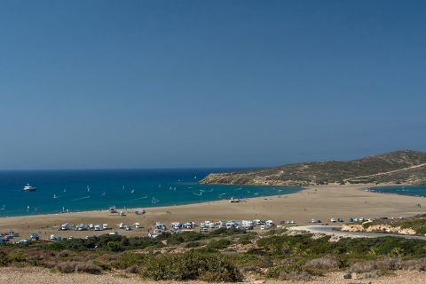 Click to Enlarge - The view of Prasonisi from behind Procenter Christof Kirschner (bottom left). To the right is the wave beach and to the left the flat water bay, with separate windsurfing and kitesurfing zones.