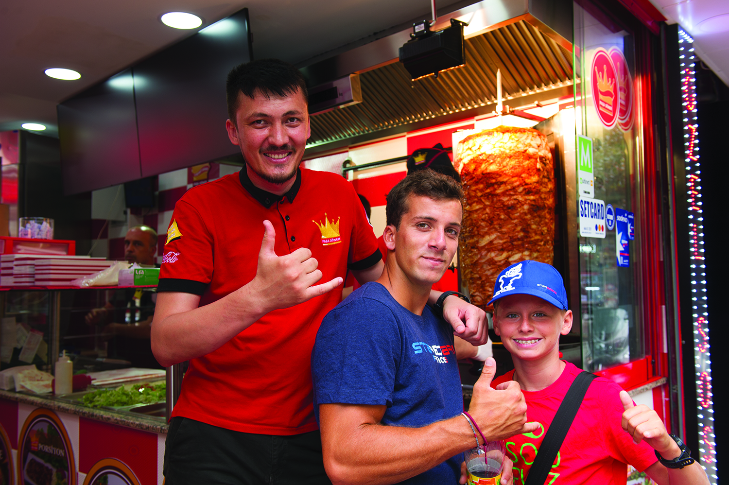 The boys giving thumbs up for Istanbul kebabs! - Click to Enlarge