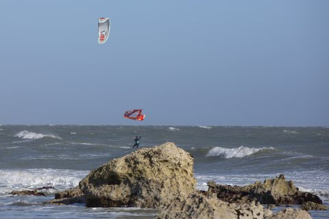 Back loop in front of local kiter Tom Court