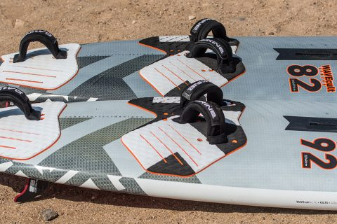 At 90 kg Jem uses a 92/94 wave board the most, and for the windier days he needs an 82. Having two boards from the same range means they will feel similar, and only differ in size'