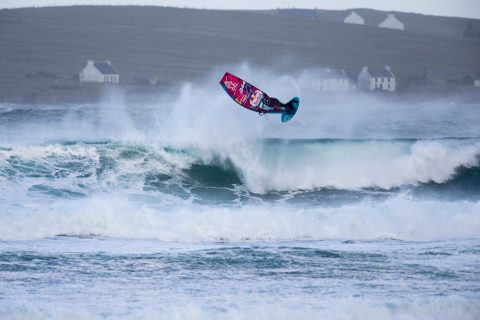 Philip Koester of Germany performs at the Red Bull Storm Chase in Magheroarty, Ireland on March 12, 2019. // John Carter/Red Bull Content Pool